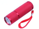 9 LED Rubber Aluminum Flashlight Torch Red