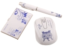 Blue and White Porcelain Wireless mouse /Ballpen/stainless steel card case 3 In 1 Business Office Supply Kit