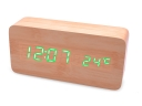 Dual-Screen Wooden Cuboid Led Clock ManuaI Alarm setting for working days